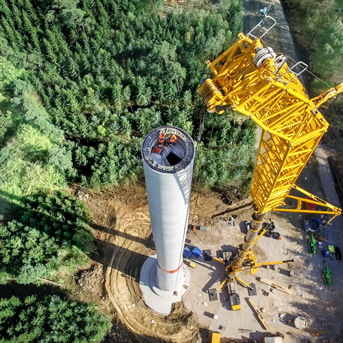 Hybridturm I Montage